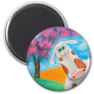 Cute cow folk art painting Gordon Bruce 2 Inch Round Magnet