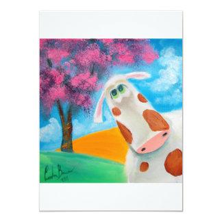 Cute cow folk art painting Gordon Bruce 5x7 Paper Invitation Card