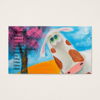 Cute cow folk art painting Gordon Bruce Business Card