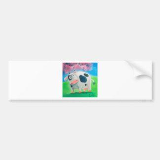 Cute cow folk art painting Gordon Bruce Car Bumper Sticker