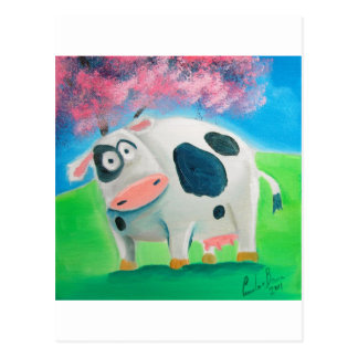 Cute cow folk art painting Gordon Bruce Postcard