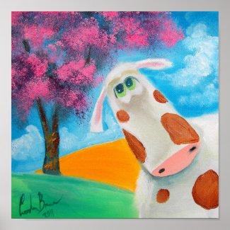 Cute cow folk art painting Gordon Bruce Poster