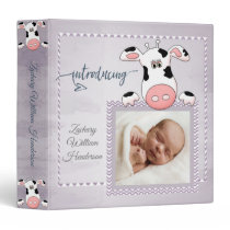 Cute Cow Gender Neutral Baby Photo 3 Ring Binder