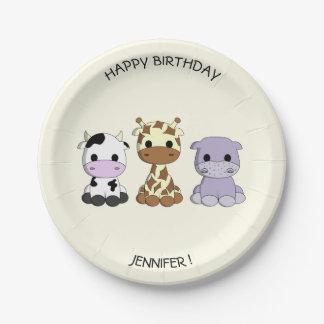 Cute cow giraffe hippo cartoon birthday kids plate