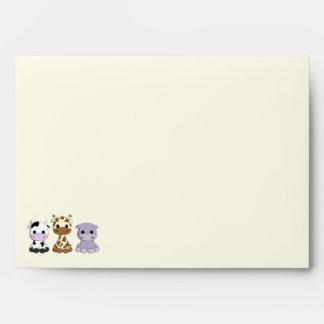Cute cow giraffe hippo cartoon kids envelopes