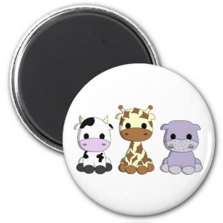 Cute cow giraffe hippo cartoon magnet