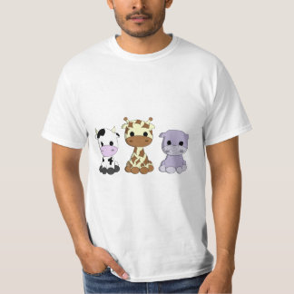 Cute cow giraffe hippo cartoon man's shirt