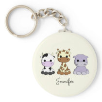 Cute cow giraffe hippo cartoon name keychain
