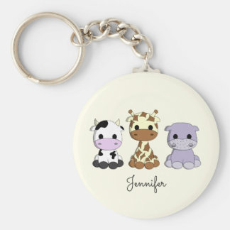 Cute cow giraffe hippo cartoon name keychain