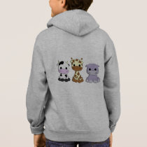 Cute cow giraffe hippo cartoon name kid's hoodie