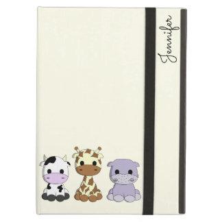 Cute cow giraffe hippo cartoon name kids iPad air cover