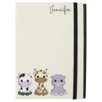 "Cute cow giraffe hippo cartoon name kids iPad pro 12.9"" case"