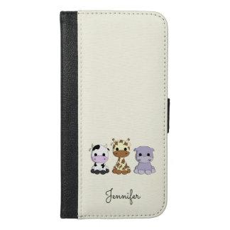 Cute cow giraffe hippo cartoon name kids iPhone 6/6s plus wallet case