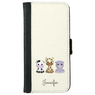Cute cow giraffe hippo cartoon name kids iPhone 6/6s wallet case