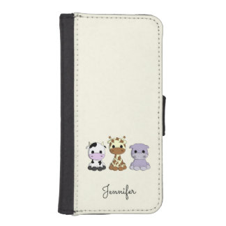 Cute cow giraffe hippo cartoon name kids iPhone SE/5/5s wallet