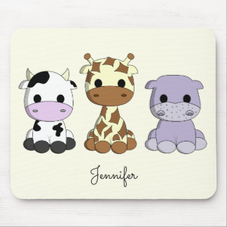 Cute cow giraffe hippo cartoon name kids mousepad