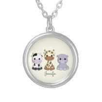 Cute cow giraffe hippo cartoon name necklace