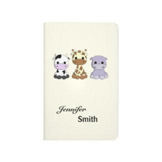 Cute cow giraffe hippo cartoon name small kids journal