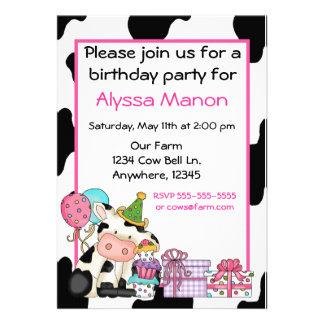 Cute cow girls birthday invitation