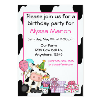 Cute cow girls birthday invitation