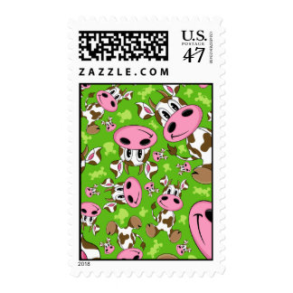 Cute Cow Green Postage Stamp
