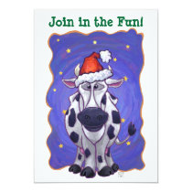 Cute Cow Holiday Party Invite