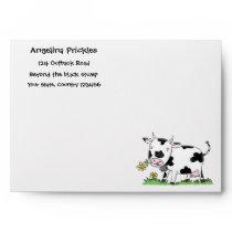 Cute cow in green field cartoon illustration envelope