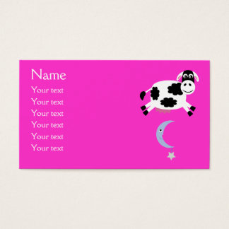 Cute Cow Jumped Over The Moon Pink Custom Business Card