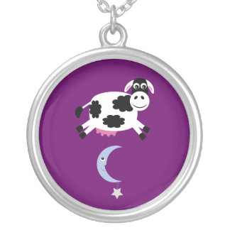 Cute Cow Jumped Over The Moon Purple Custom Round Pendant Necklace