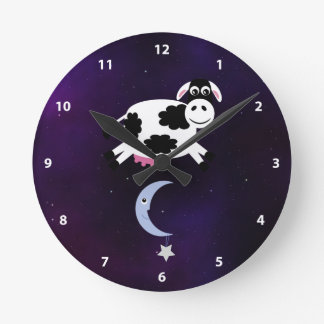Cute Cow Jumped over the Moon Round Clock