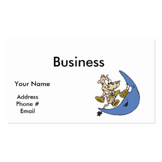 cute cow jumping over moon business card