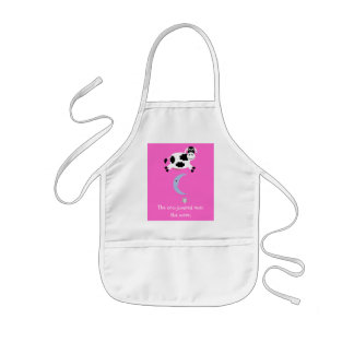 Cute Cow Jumping Over The Moon Kids' Apron