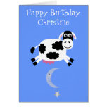 Cute Cow Jumping Over The Moon Greeting Card