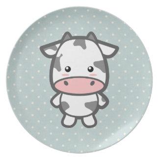 Cute Cow Melamine Plate