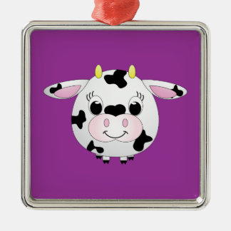 Cute Cow Metal Ornament