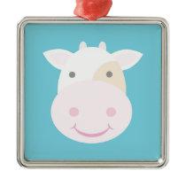 Cute Cow Metal Ornament
