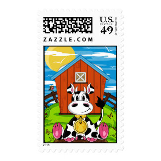 Cute Cow on the Farm Stamp