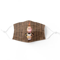 Cute Cow, Pig, Rooster Farm Animals on Barn Wood Cloth Face Mask