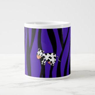 Cute cow purple zebra stripes jumbo mug