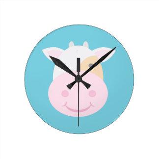 Cute Cow Round Clock