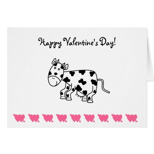 Cute cow valentines day card cards