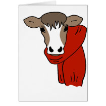 Cute Cow Wearing a Scarf Card
