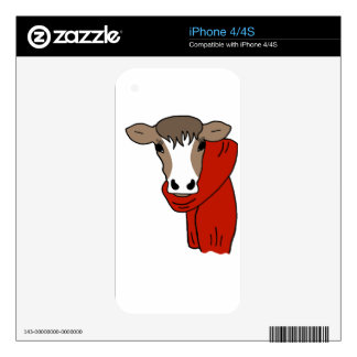 Cute Cow Wearing a Scarf Decal For iPhone 4