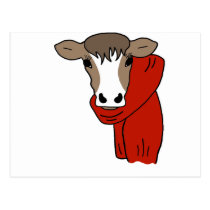 Cute Cow Wearing a Scarf Postcard