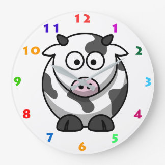 CUTE COW WITH COLORFUL NUMERALS FOR KIDS LARGE CLOCK