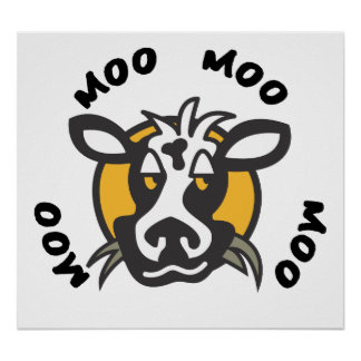 Cute Cow With Four Moos Poster