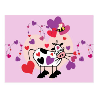 Cute Cow With Hearts and a Bumble Bee Graphic Postcard