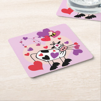 Cute Cow With Hearts and a Bumble Bee Graphic Square Paper Coaster