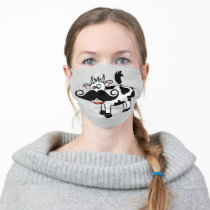 Cute Cow with Mustache Cloth Face Mask