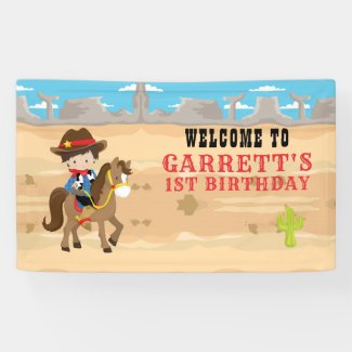 Cute Cowboy 1st Birthday Party Banner